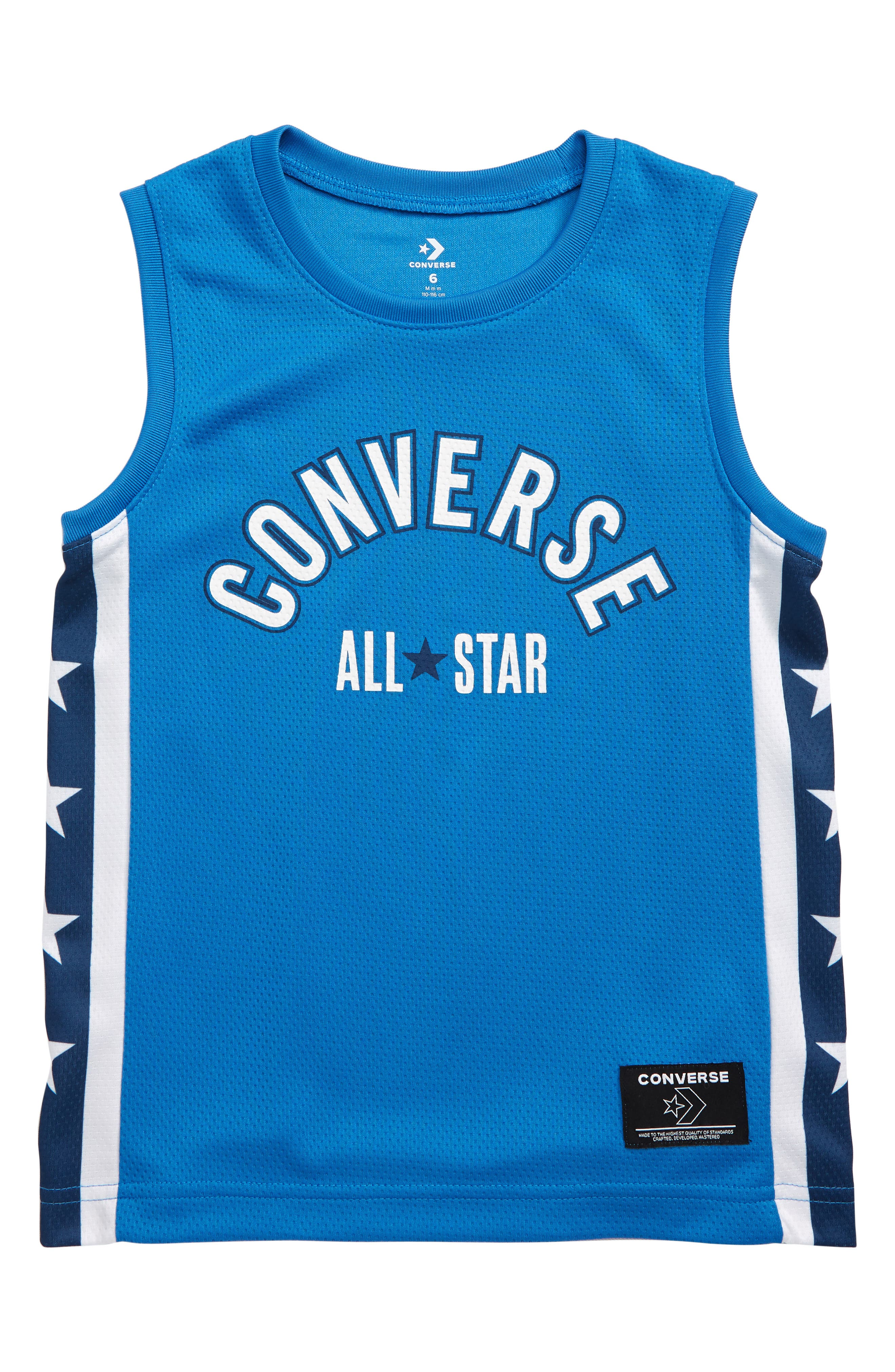 Boys Converse Star Stripe Mesh Jersey Shirt Size 6  Blue
