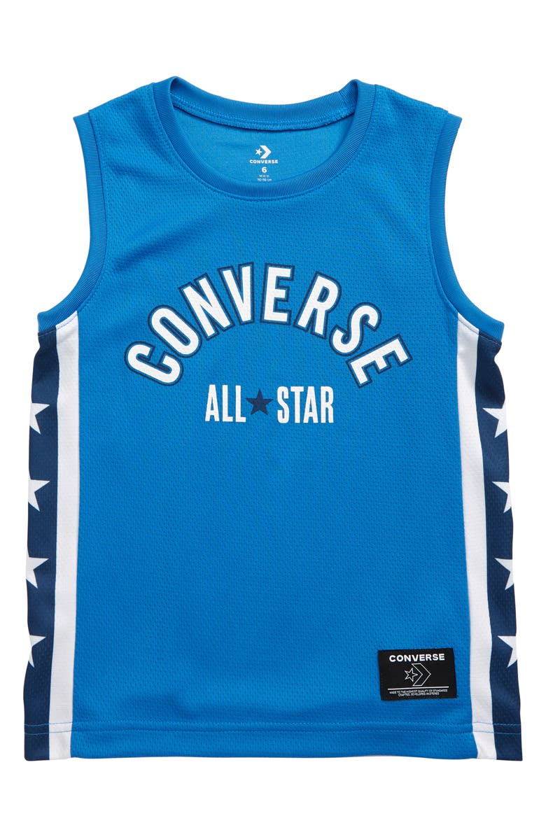 CONVERSE Star Stripe Mesh Tank, Main, color, TOTALLY BLUE