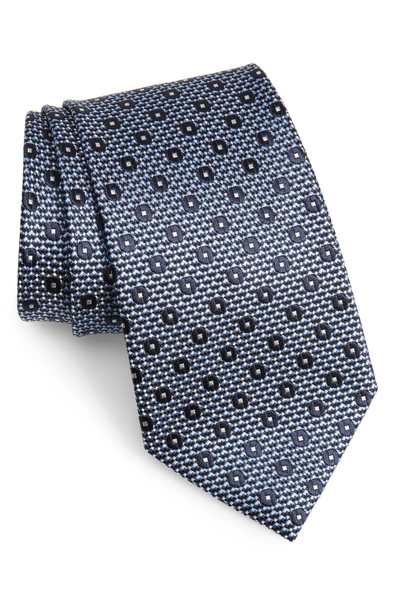 ERMENEGILDO ZEGNA Medallion Silk Tie, Main, color, BRIGHT BLUE FAN