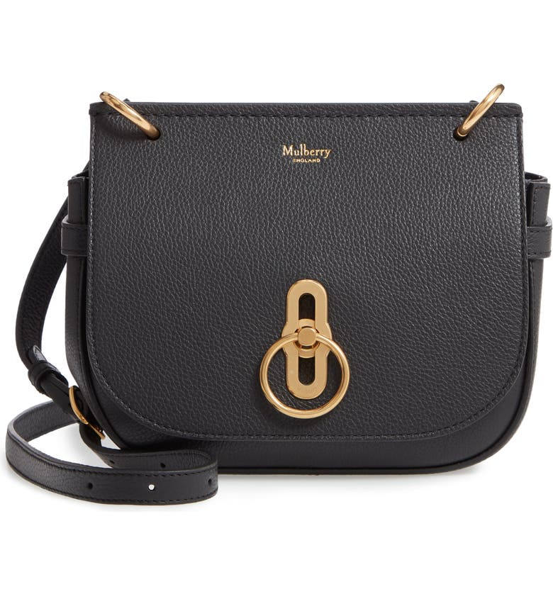 MULBERRY Small Amberley Leather Crossbody Bag, Main, color, BLACK