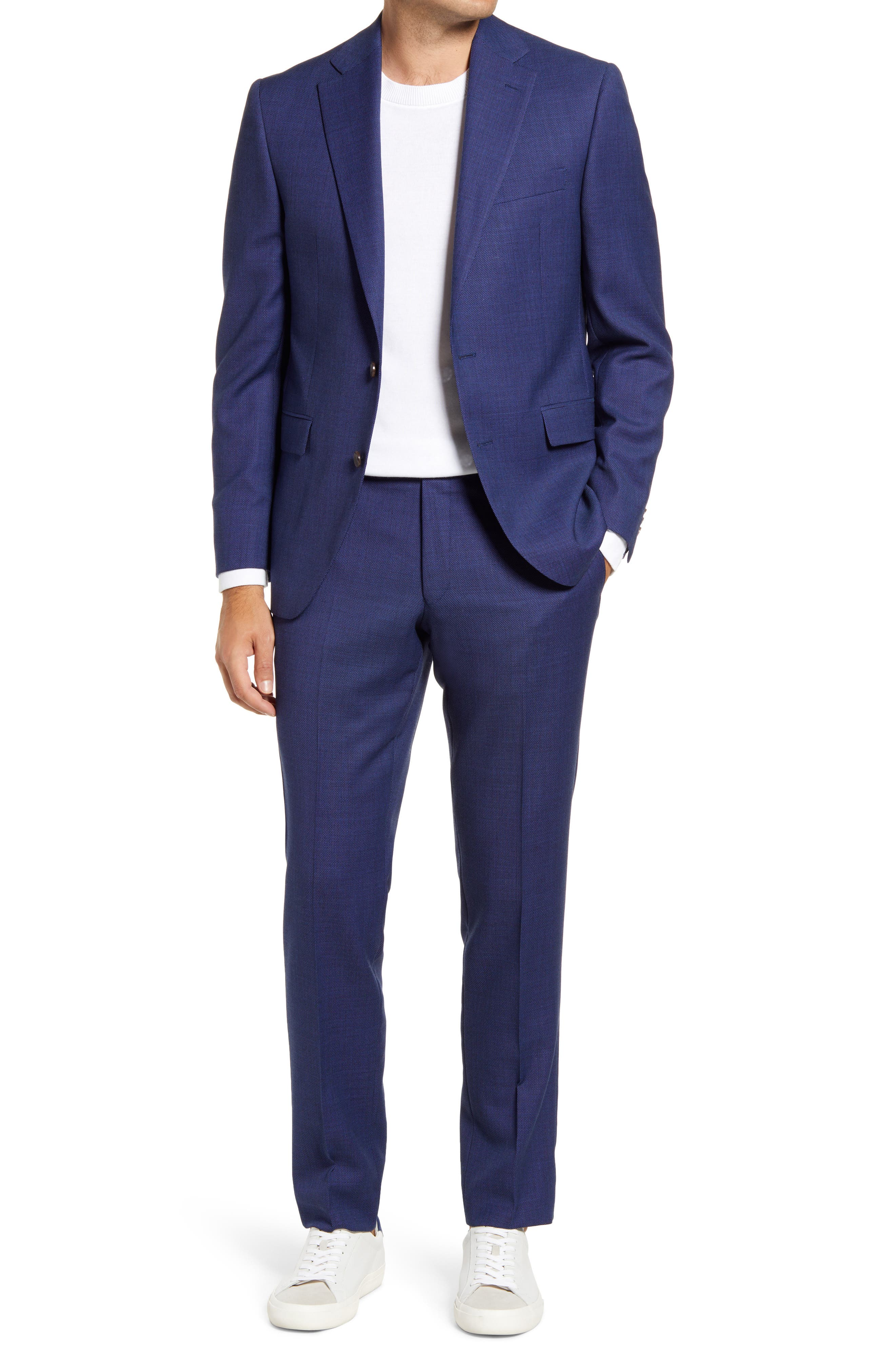 Esprit Contemporary Fit Blue Bird's Eye Wool Blend Suit