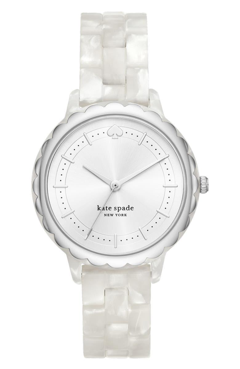 KATE SPADE NEW YORK morningside acetate bracelet watch, 38mm, Main, color, WHITE