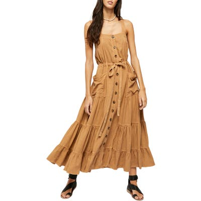 Free People Catch The Breeze Button Front Dress, Brown