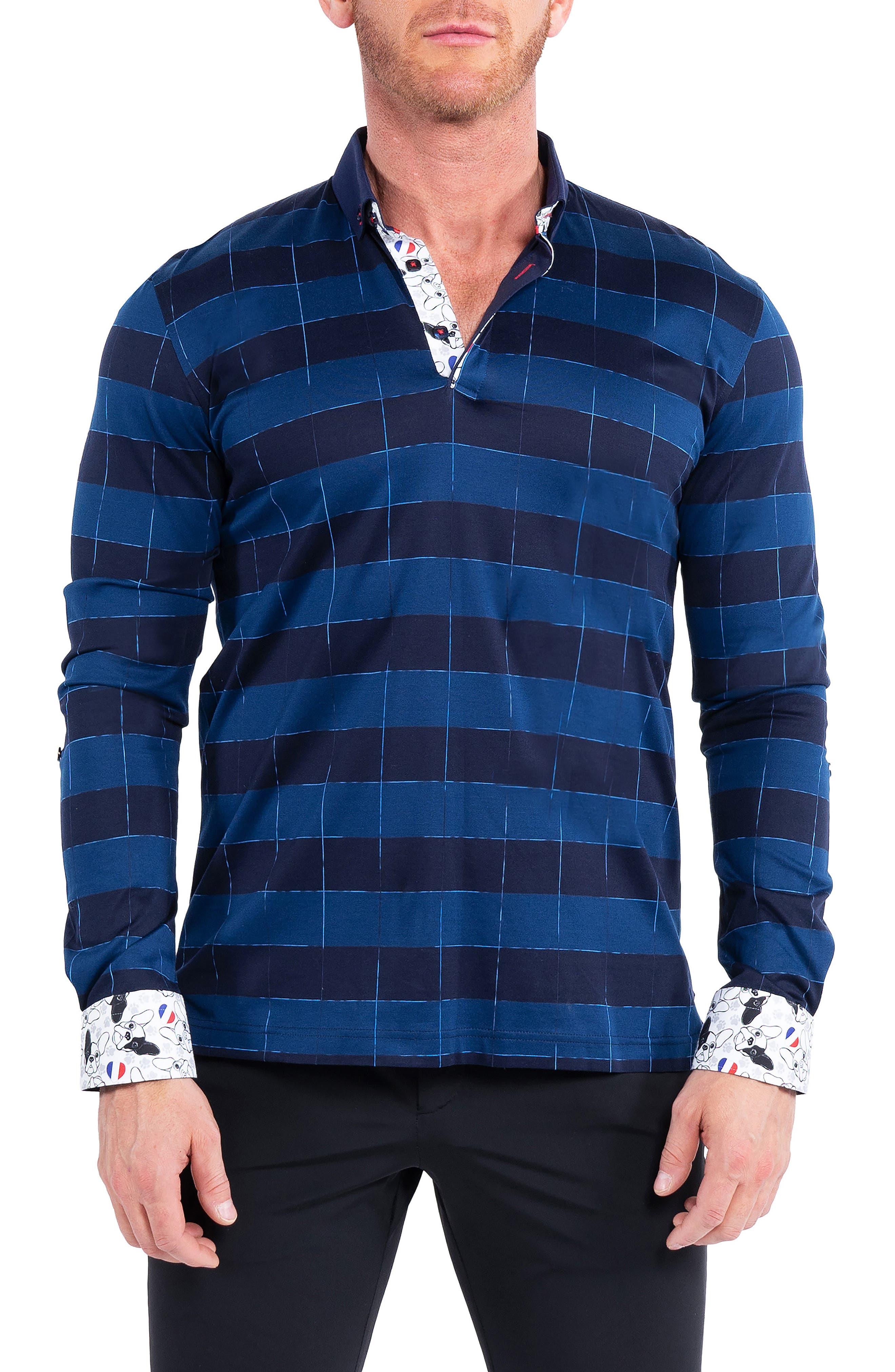 Newton Block Blue Stripe Button-Down Polo