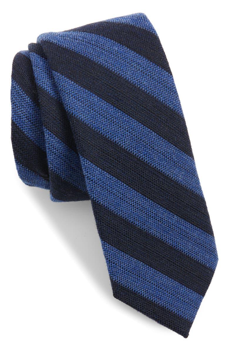 TED BAKER LONDON Stripe Skinny Wool & Silk Tie, Main, color, LIGHT BLUE