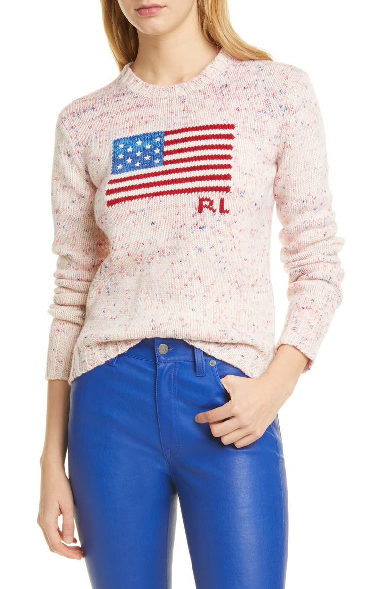 POLO RALPH LAUREN Flag Wool Sweater, Main, color, MULTI