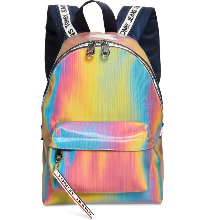 TOMMY JEANS Logo Tape Holographic Backpack, Main, color, RAINBOW HOLO