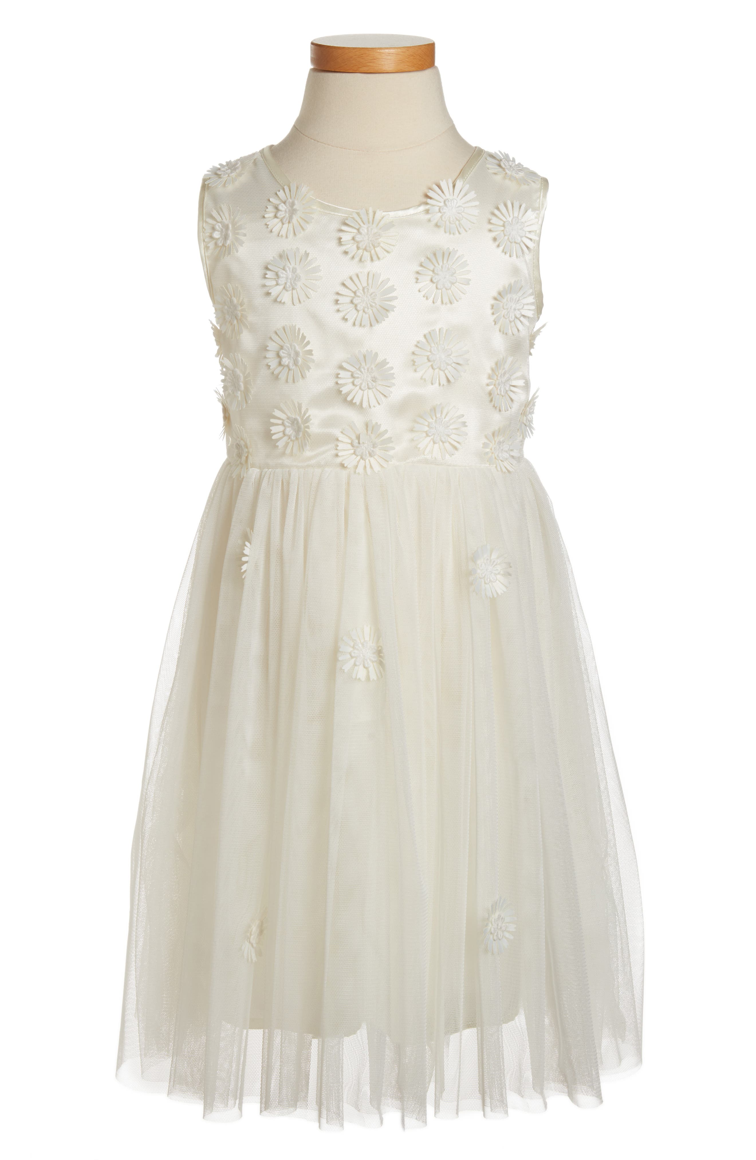 Daisy Sleeveless Dress, Main, color, WHITE