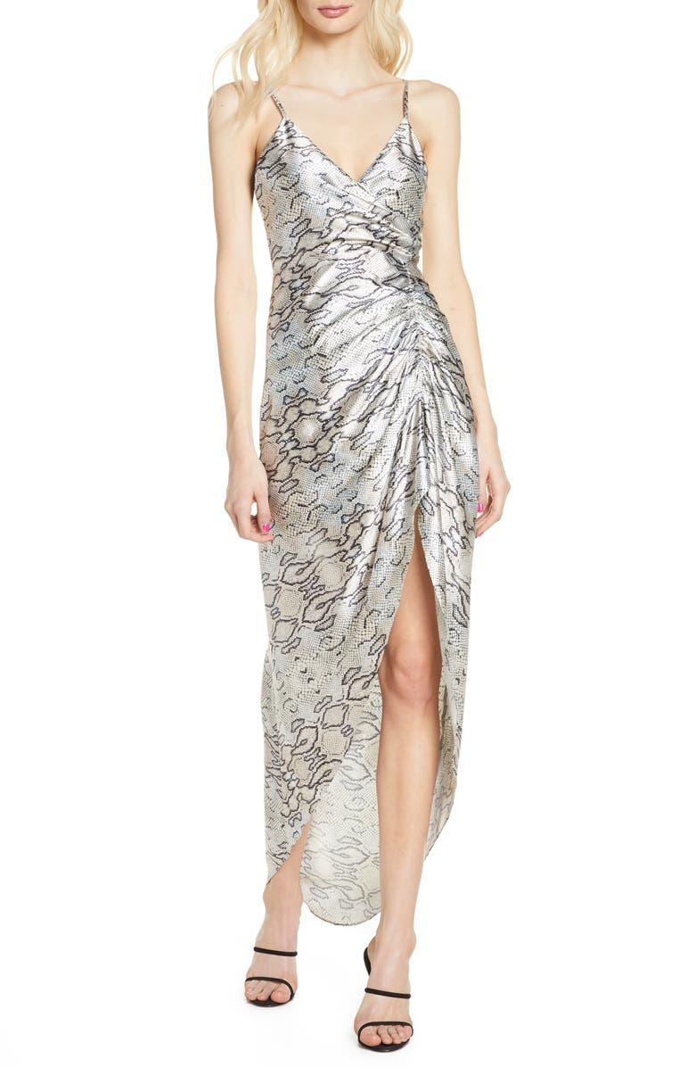 BELLEVUE THE LABEL Snakeskin Print Ruched Satin Maxi Dress, Main, color, SNAKE PRINT