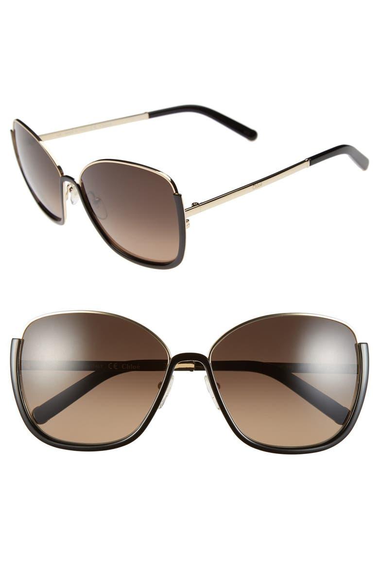 CHLOÉ 'Danae' 59mm Gradient Sunglasses, Main, color, BLACK/ GOLD