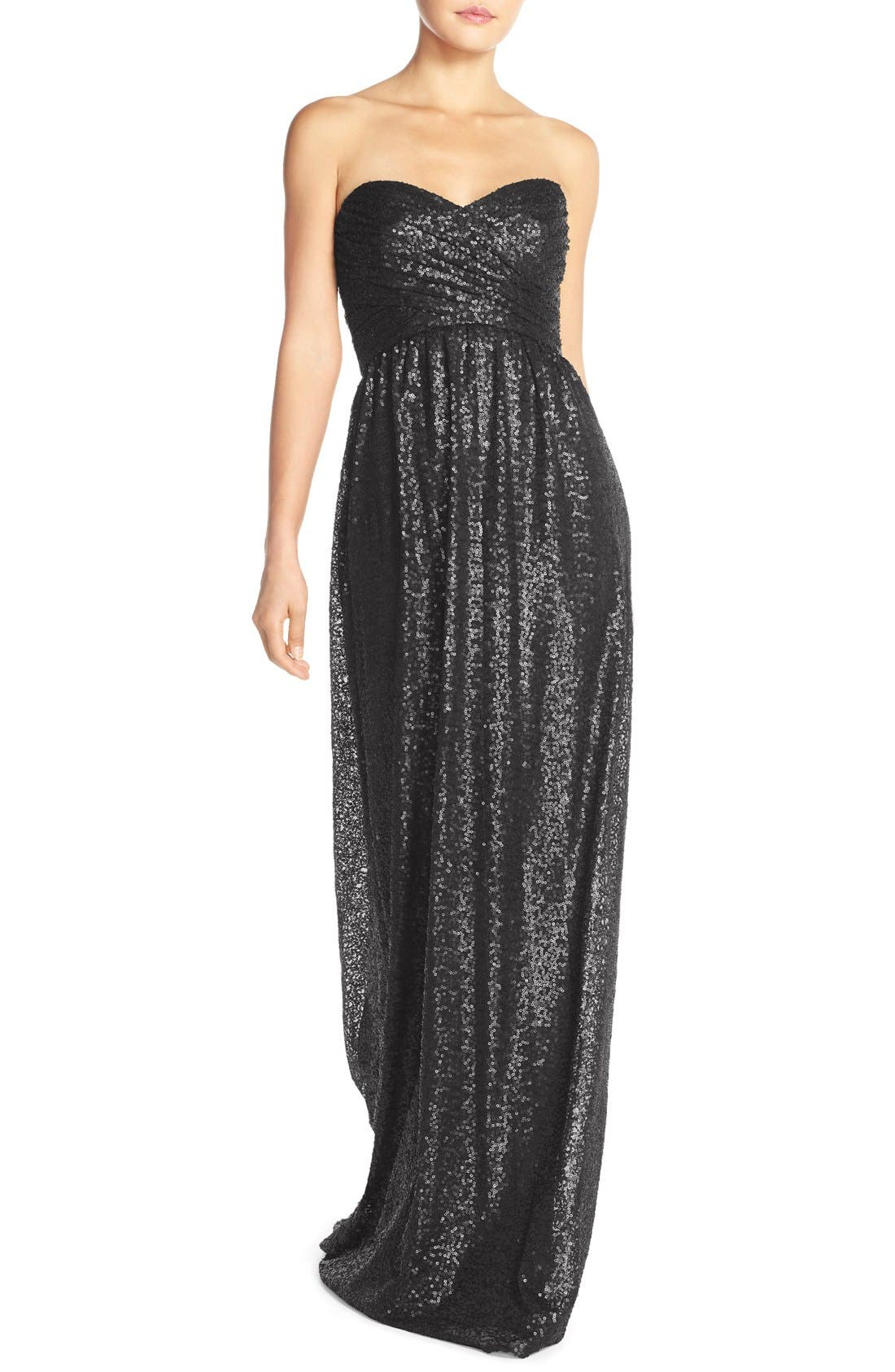 ,                             'London' Sequin Tulle Strapless Column Gown,                             Main thumbnail 6, color,                             001