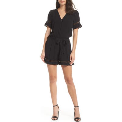 Fraiche By J Lace Inset Romper, Black