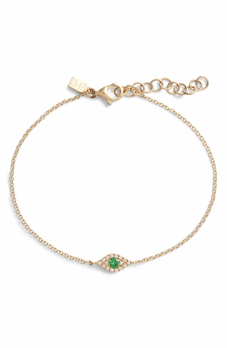 EF COLLECTION Evil Eye Diamond & Tsavorite Line Bracelet, Main, color, 710