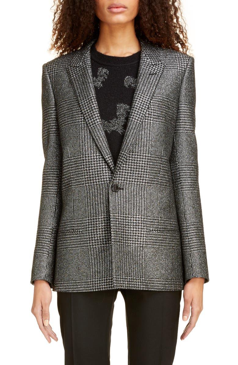 SAINT LAURENT Shimmer Glen Plaid Oversize Blazer, Main, color, ARGENT NOIR