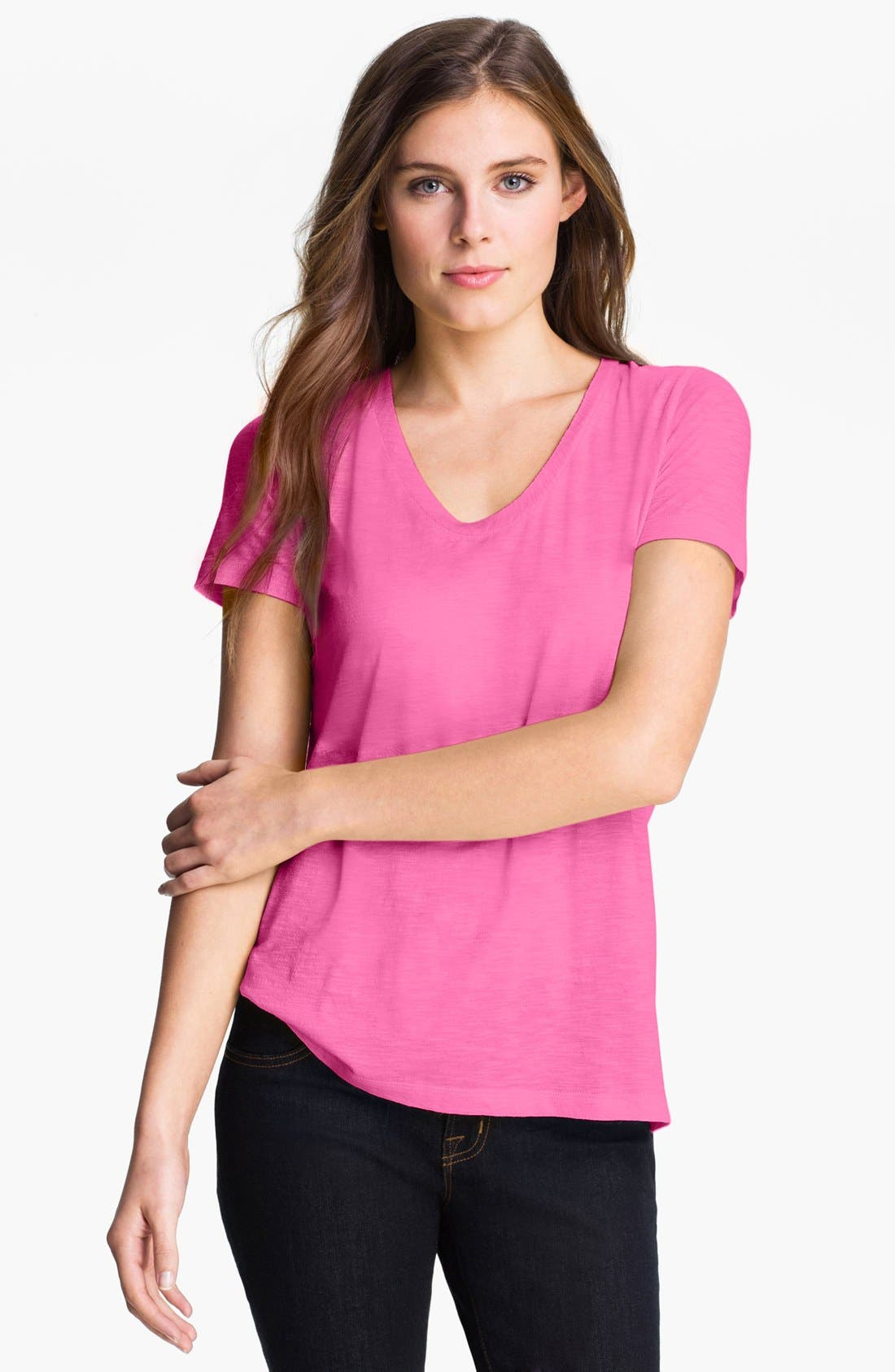 ,                             Relaxed Slub Knit U-Neck Tee,                             Main thumbnail 380, color,                             651