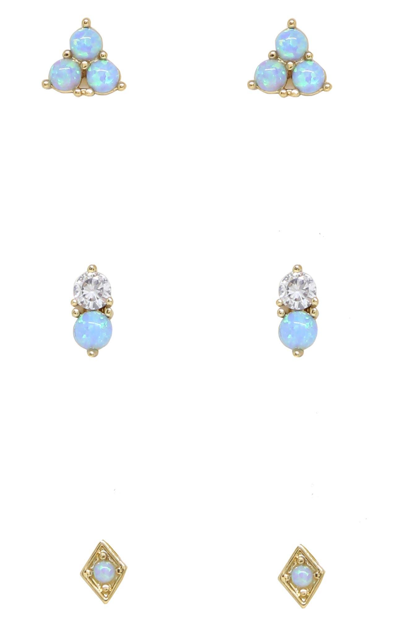 Set Of 3 Blue Opal Stud Earrings