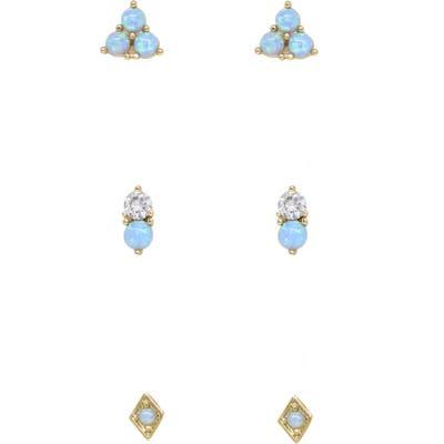 Ettika Set Of 3 Blue Opal Stud Earrings