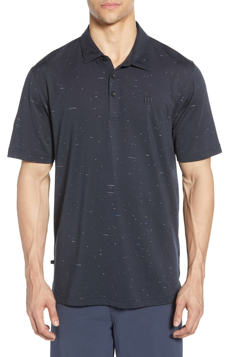 TRAVISMATHEW Mirror in the Bathroom Regular Fit Piqué Performance Polo, Main, color, BLACK