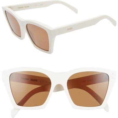 Celine 55Mm Cat Eye Sunglasses - White/ Brown