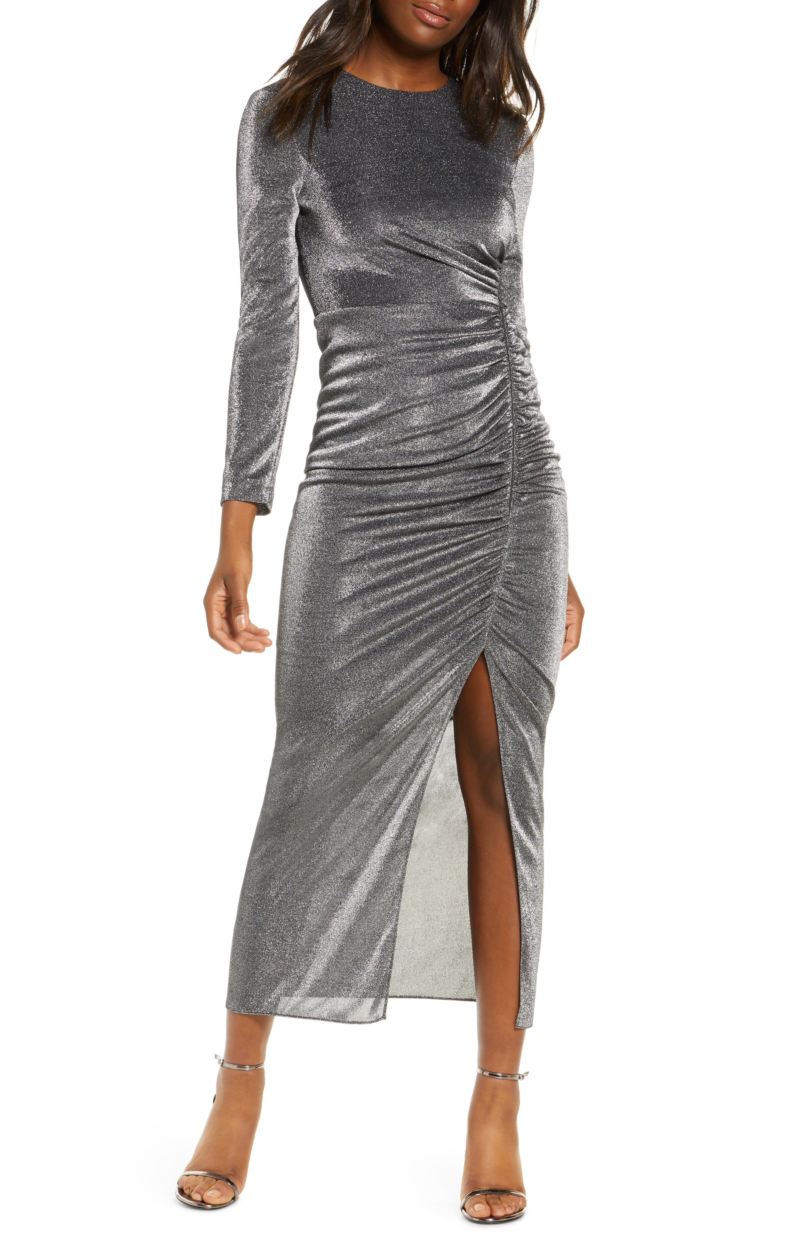 Image of Vince Camuto Long Sleeve Ruched Metallic Midi Dress