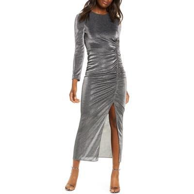 Vince Camuto Long Sleeve Ruched Metallic Midi Dress, Black