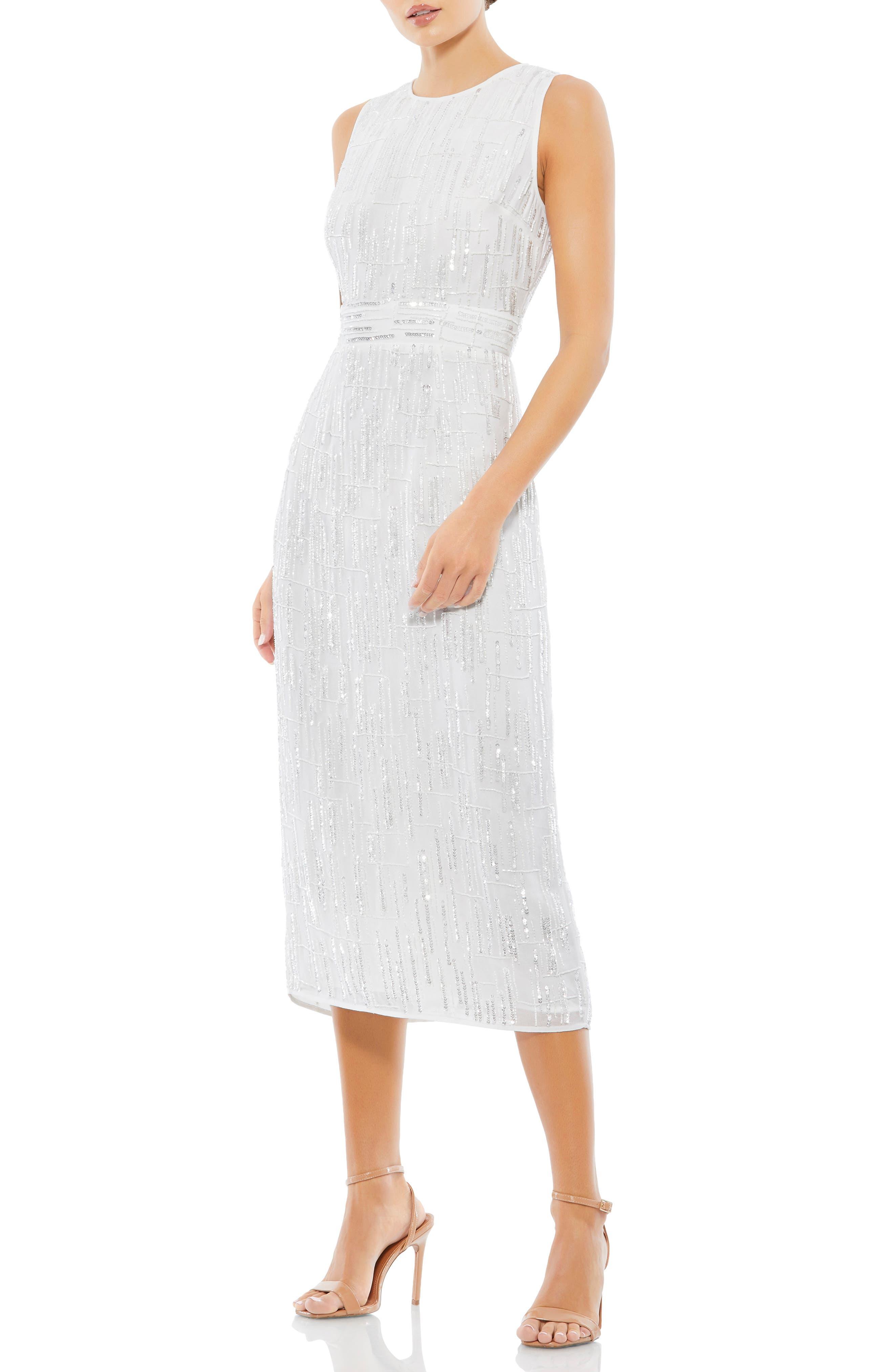 60s Wedding Dresses   70s Wedding Dresses Mac Duggal Sequin Mesh Sheath Dress Size 12 in White at Nordstrom $398.00 AT vintagedancer.com