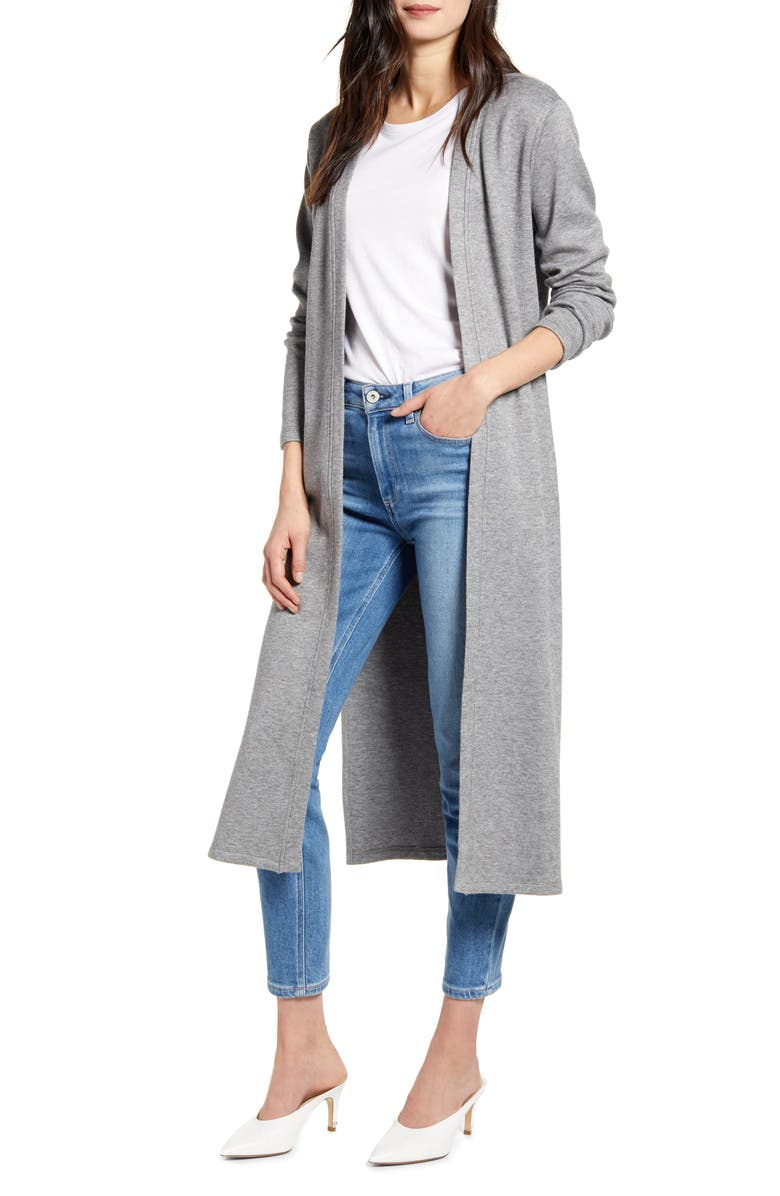 CUPCAKES AND CASHMERE Victoria Knit Duster Jacket, Main, color, HEATHER GREY