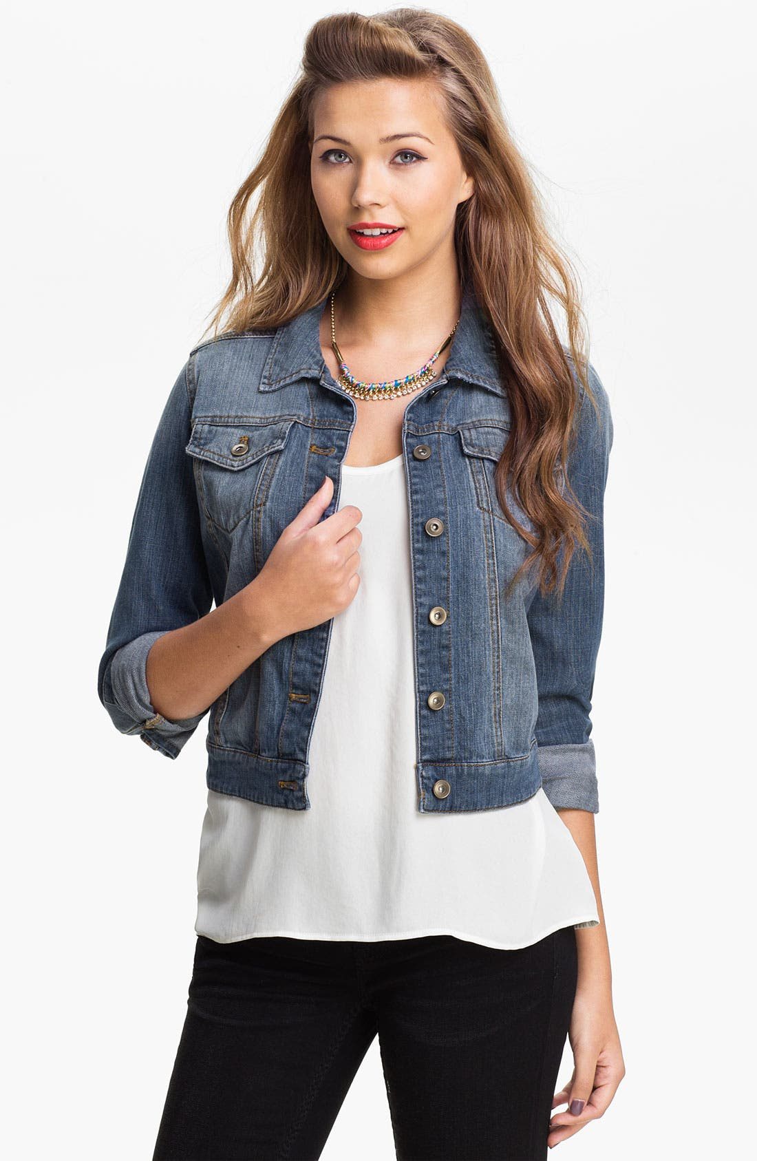 ,                             Basic Denim Jacket,                             Main thumbnail 1, color,                             400