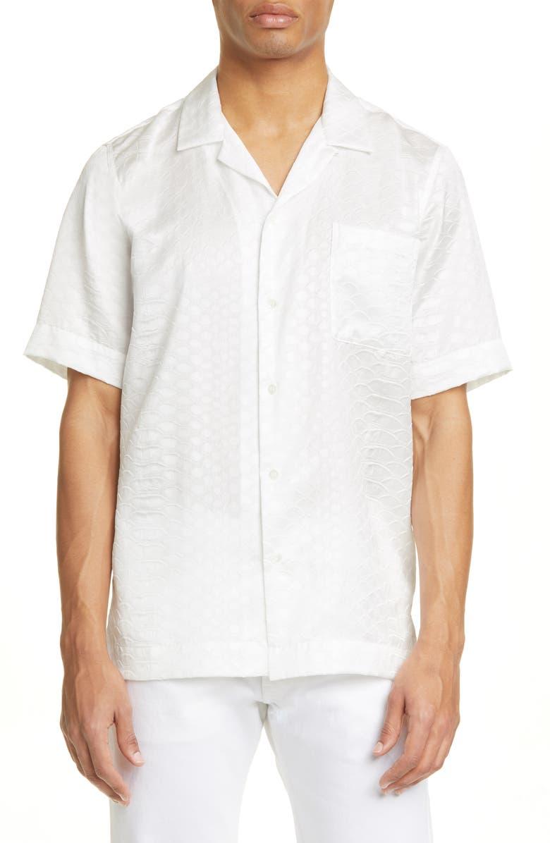 DRIES VAN NOTEN Carltone Croc Embossed Short Sleeve Button-Up Shirt, Main, color, WHITE