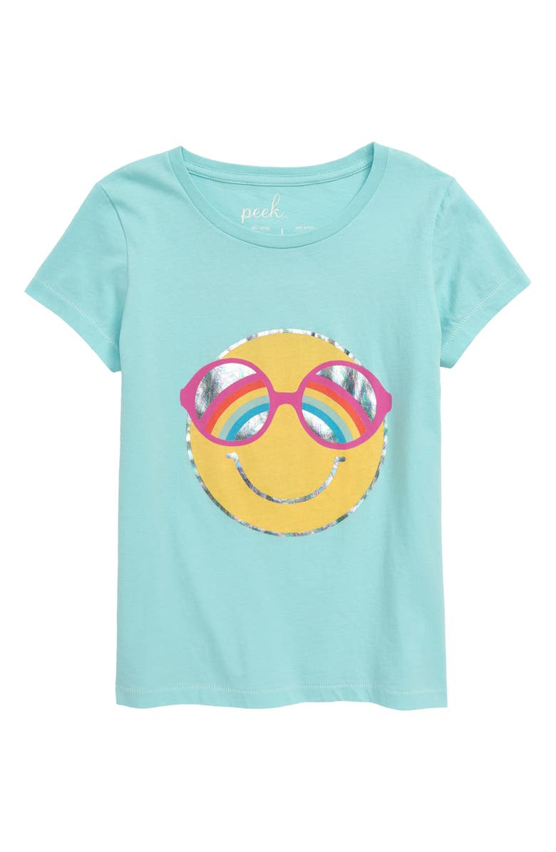 PEEK AREN'T YOU CURIOUS Happy Graphic Tee, Main, color, TURQUOISE