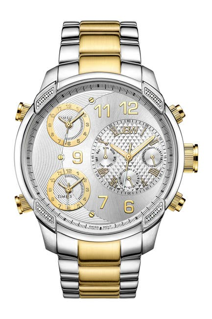 Image of JBW Men's G4 Two-Tone 18K Gold Plated Stainless Steel Diamond Watch, 53mm - 0.16 ctw