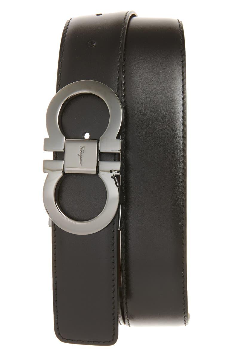 SALVATORE FERRAGAMO Reversible Leather Belt, Main, color, BLACK/ AUBURN