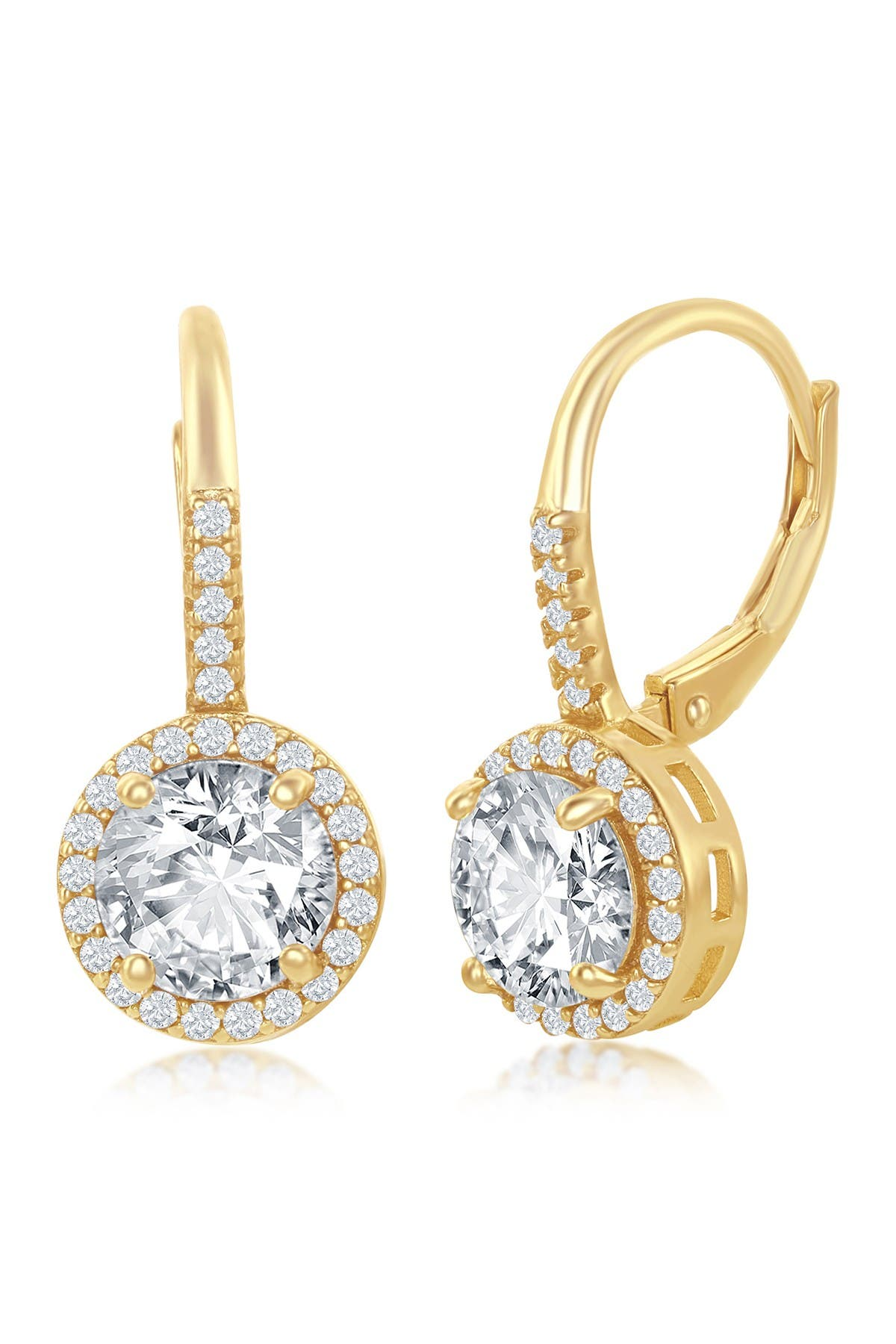 Image of Simona Jewelry 14K Yellow Gold Plated Sterling Silver Round-Cut CZ Halo Drop Earrings