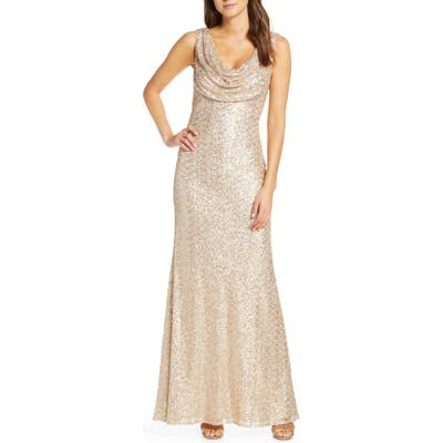 Vince Camuto Cowl Neck Sequin Gown, Beige
