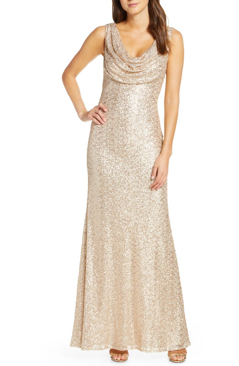 VINCE CAMUTO Cowl Neck Sequin Gown, Main, color, 250
