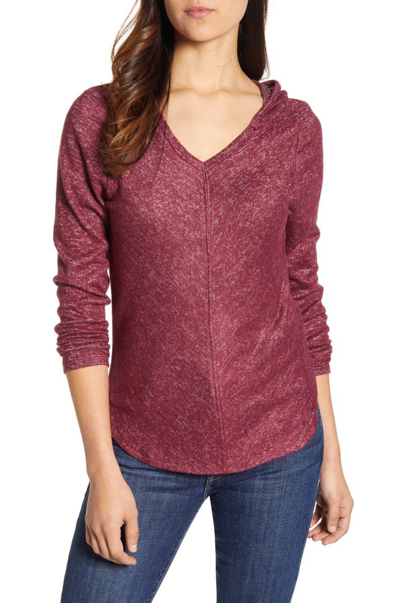 BOBEAU Sweater Hoodie, Main, color, WINDSOR WINE