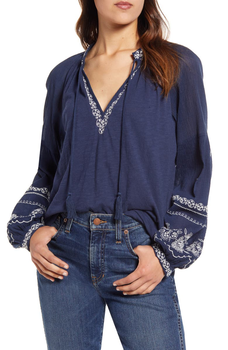LUCKY BRAND Embroidered Peasant Top, Main, color, NAVY
