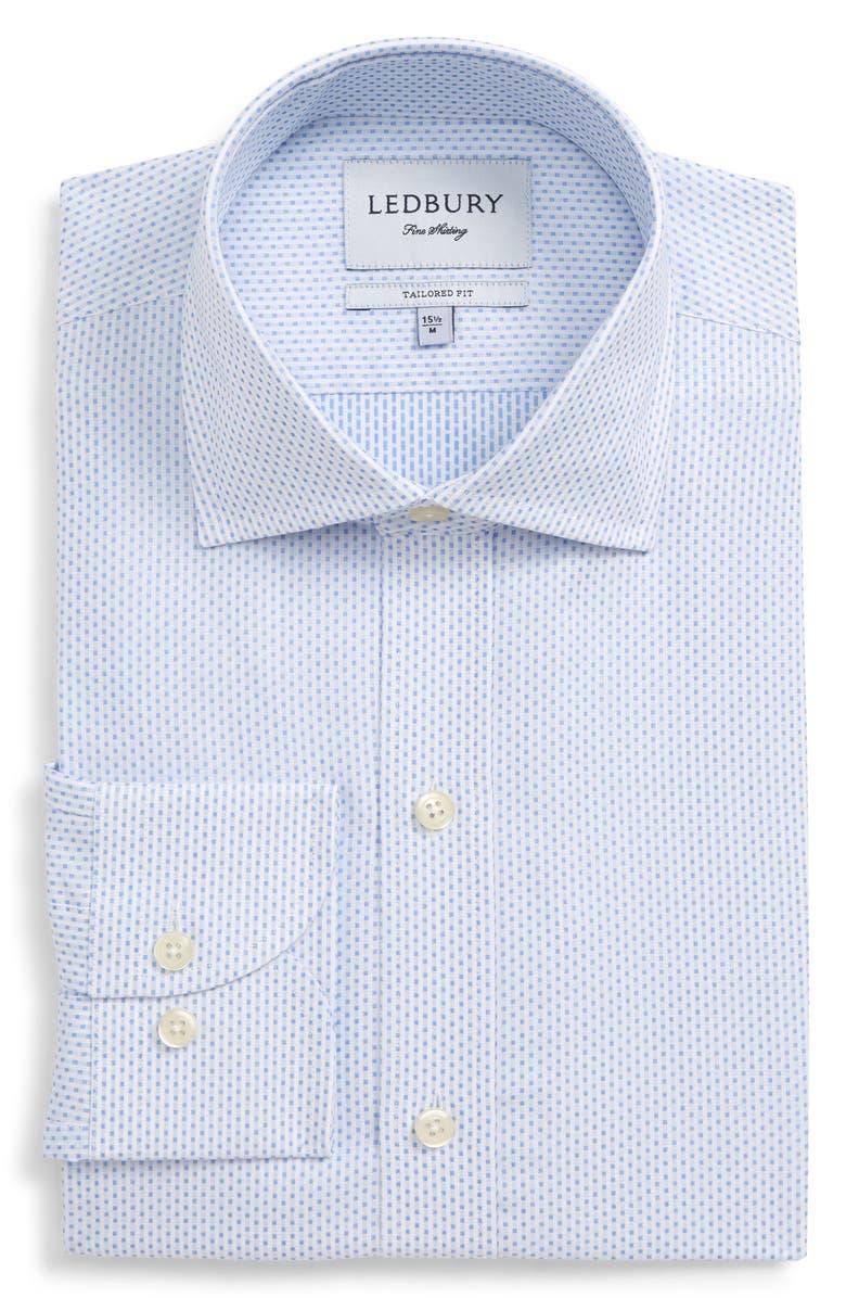 LEDBURY Chapin Tailored Fit Dot Dress Shirt, Main, color, BLUE