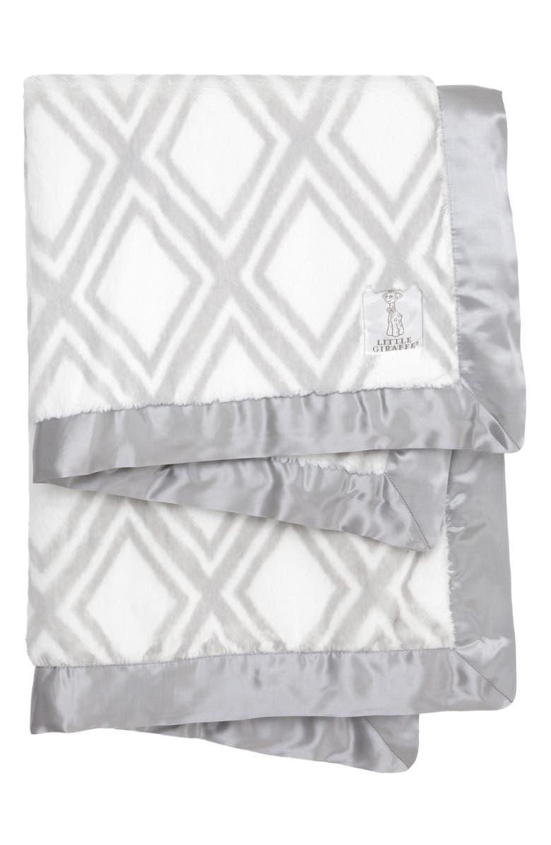 LITTLE GIRAFFE Luxe<sup>™</sup> Diamond Baby Blanket, Main, color, SILVER