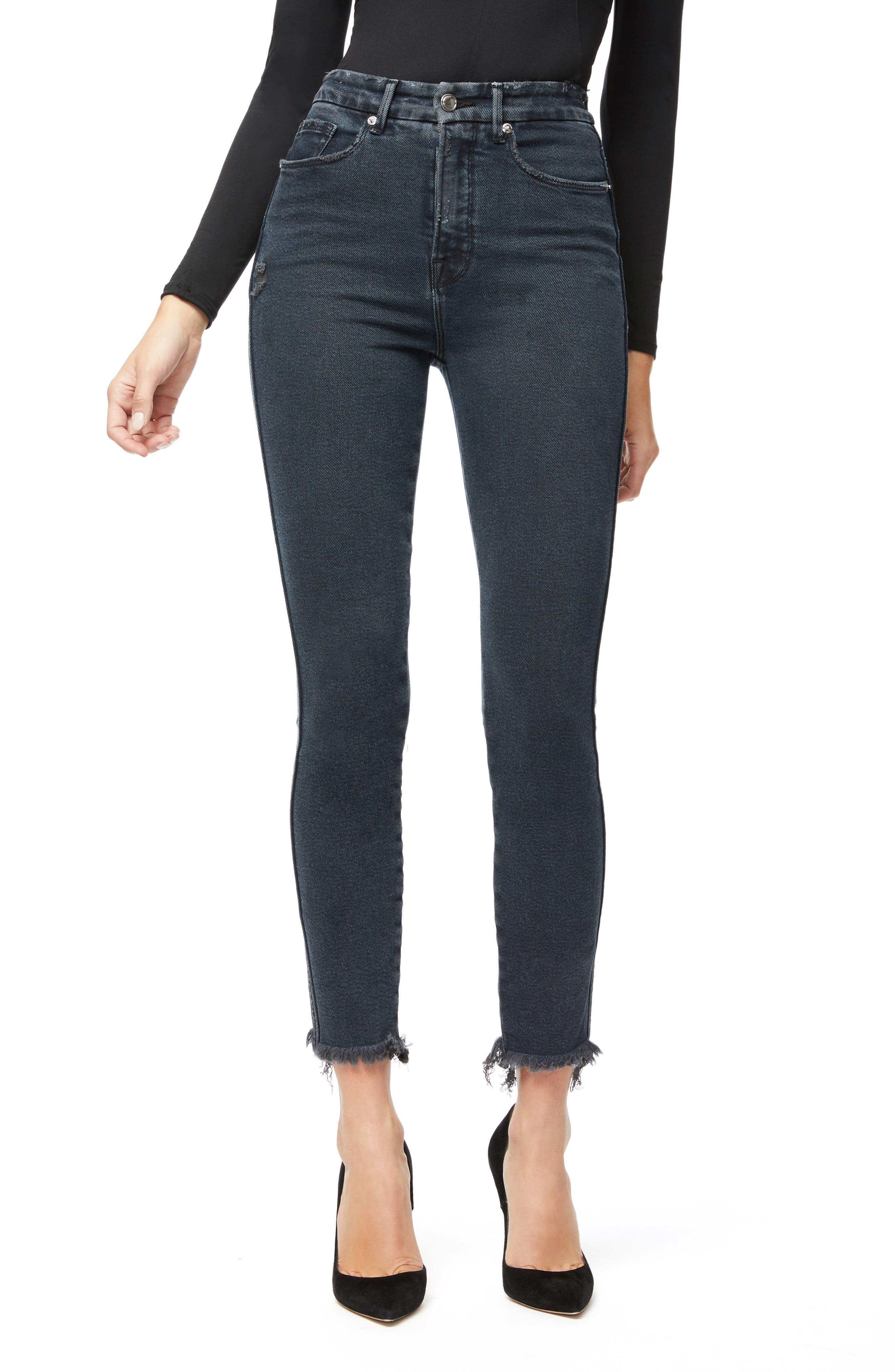 Image of Good American Good Curve Skinny Raw Edge Jeans