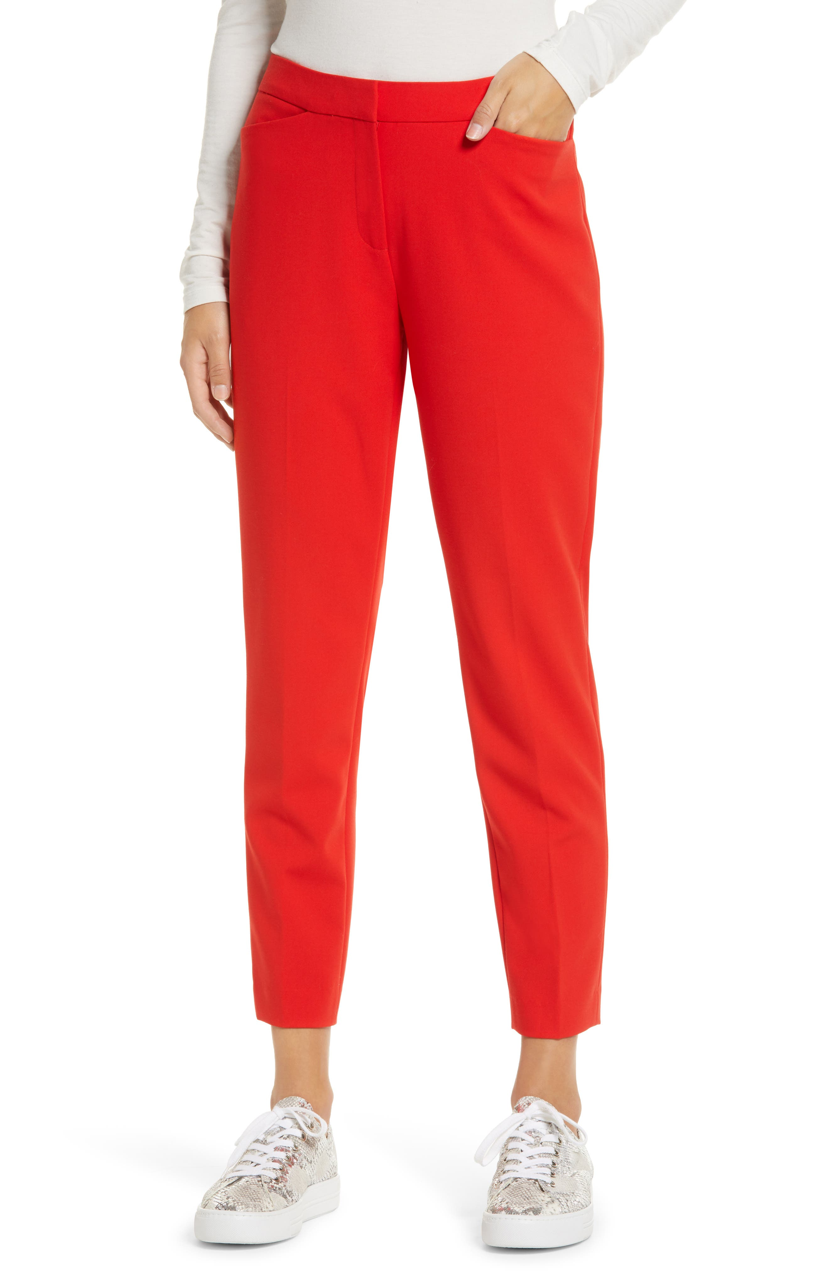 A sleek straight-leg cut, stretch fabric and slightly cropped fit make these pants must-haves for 9-to-5 and beyond. Style Name: Halogen Crop Straight Leg Pants (Regular & Petite). Style Number: 6011428. Available in stores.