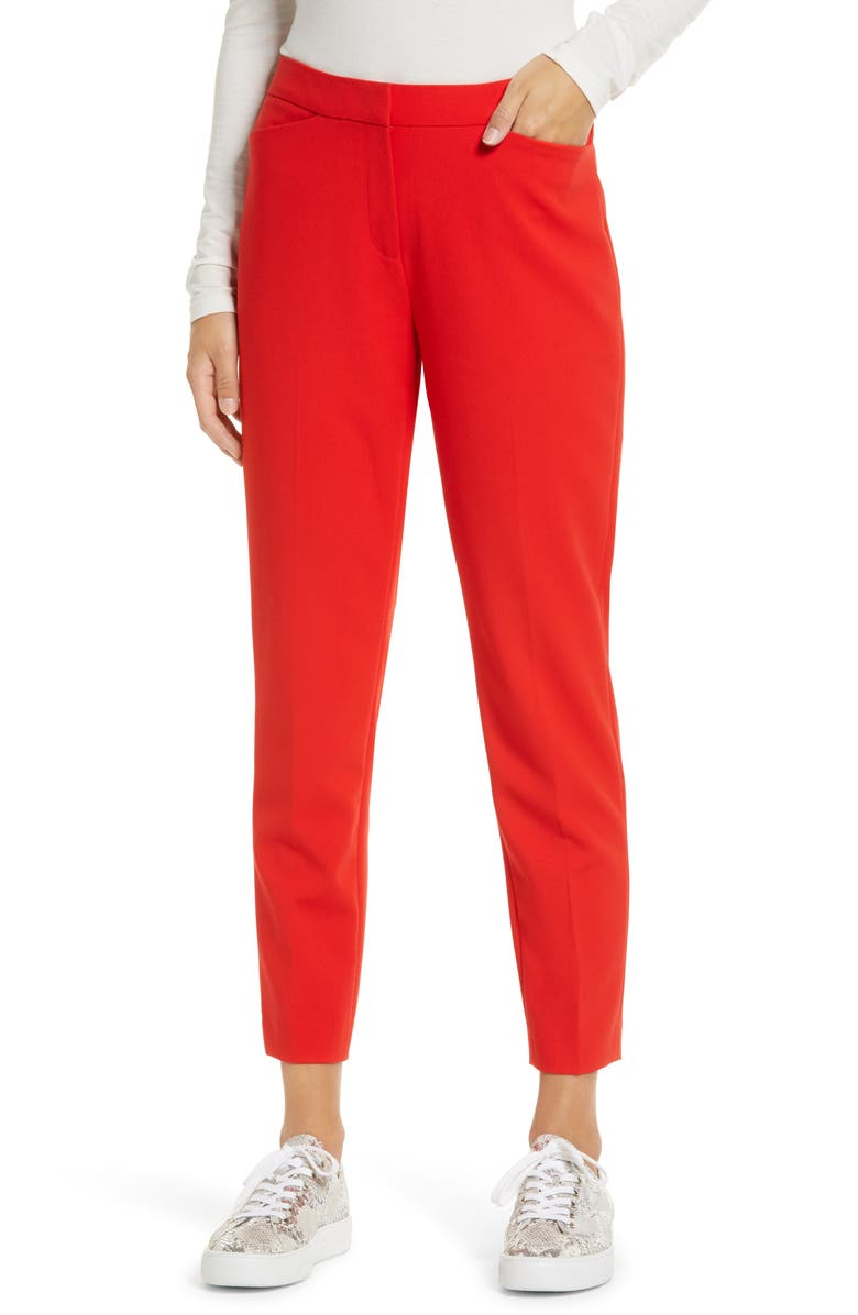 HALOGEN<SUP>®</SUP> Crop Straight Leg Pants, Main, color, RED BLOOM