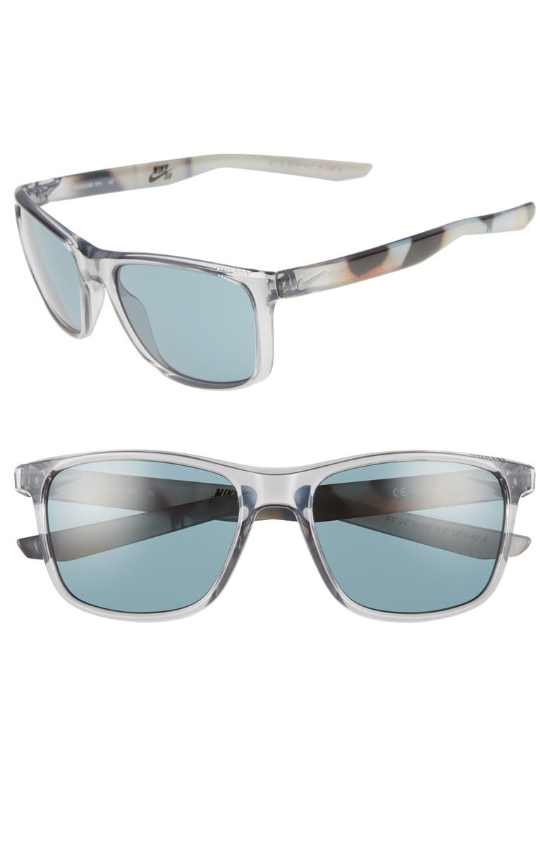 NIKE Unrest SE 57mm Sunglasses, Main, color, CRYSTAL GREY/ TEAL