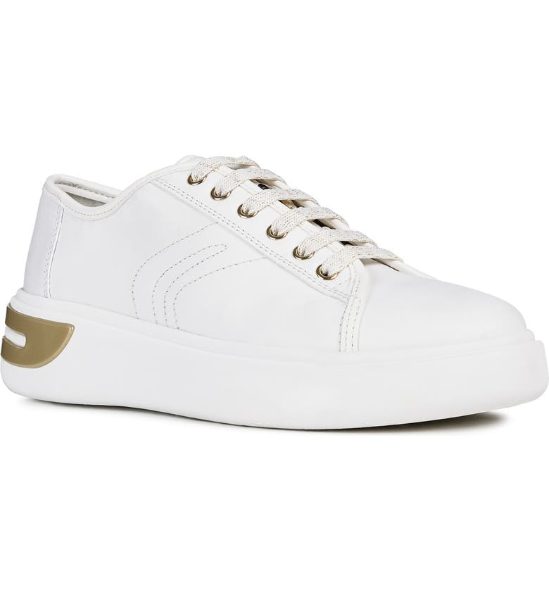 GEOX Ottaya Leather Sneaker, Main, color, WHITE LEATHER