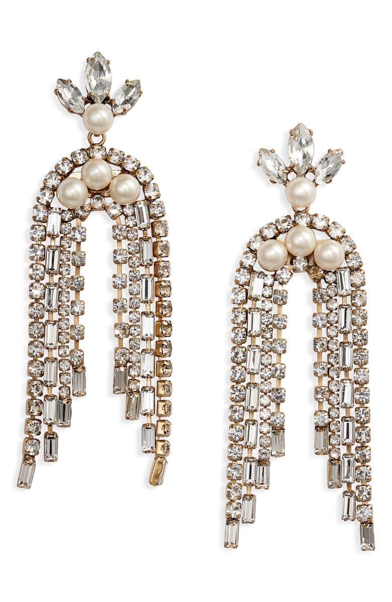 STELLA & DOT Crystal Waterfall Earrings, Main, color, SILVER/ PEARL/ CLEAR