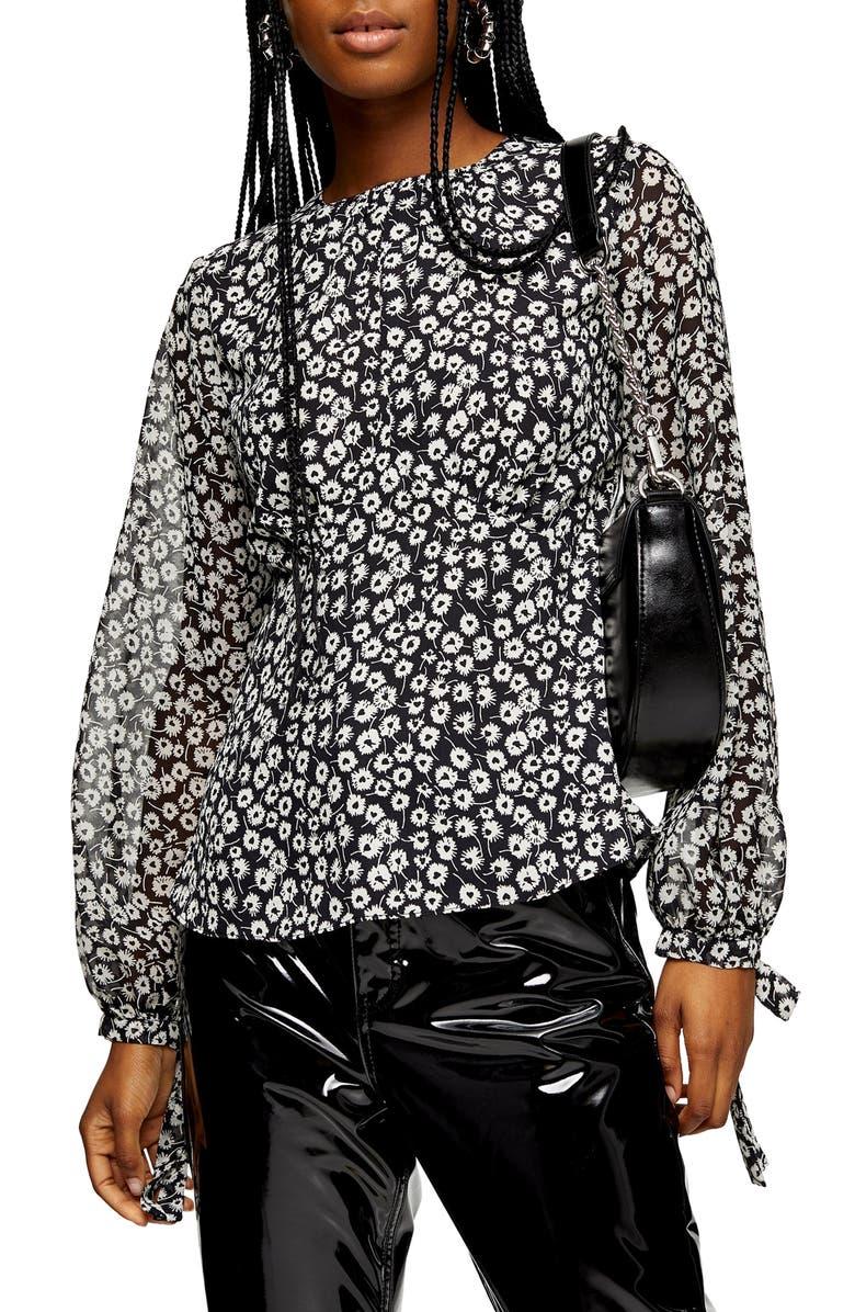 TOPSHOP Floral Print Sheer Sleeve Blouse, Main, color, BLACK MULTI