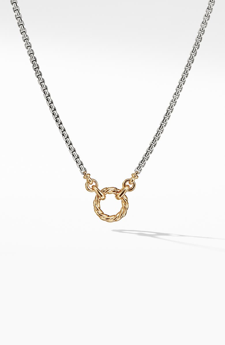 DAVID YURMAN Amulet Vehicle Box Chain Necklace with 18K Yellow Gold, Main, color, GOLD/ SILVER