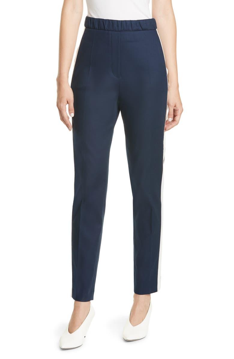 HUGO Herani Side Stripe Stretch Cotton Pants, Main, color, CLEAN NAVY