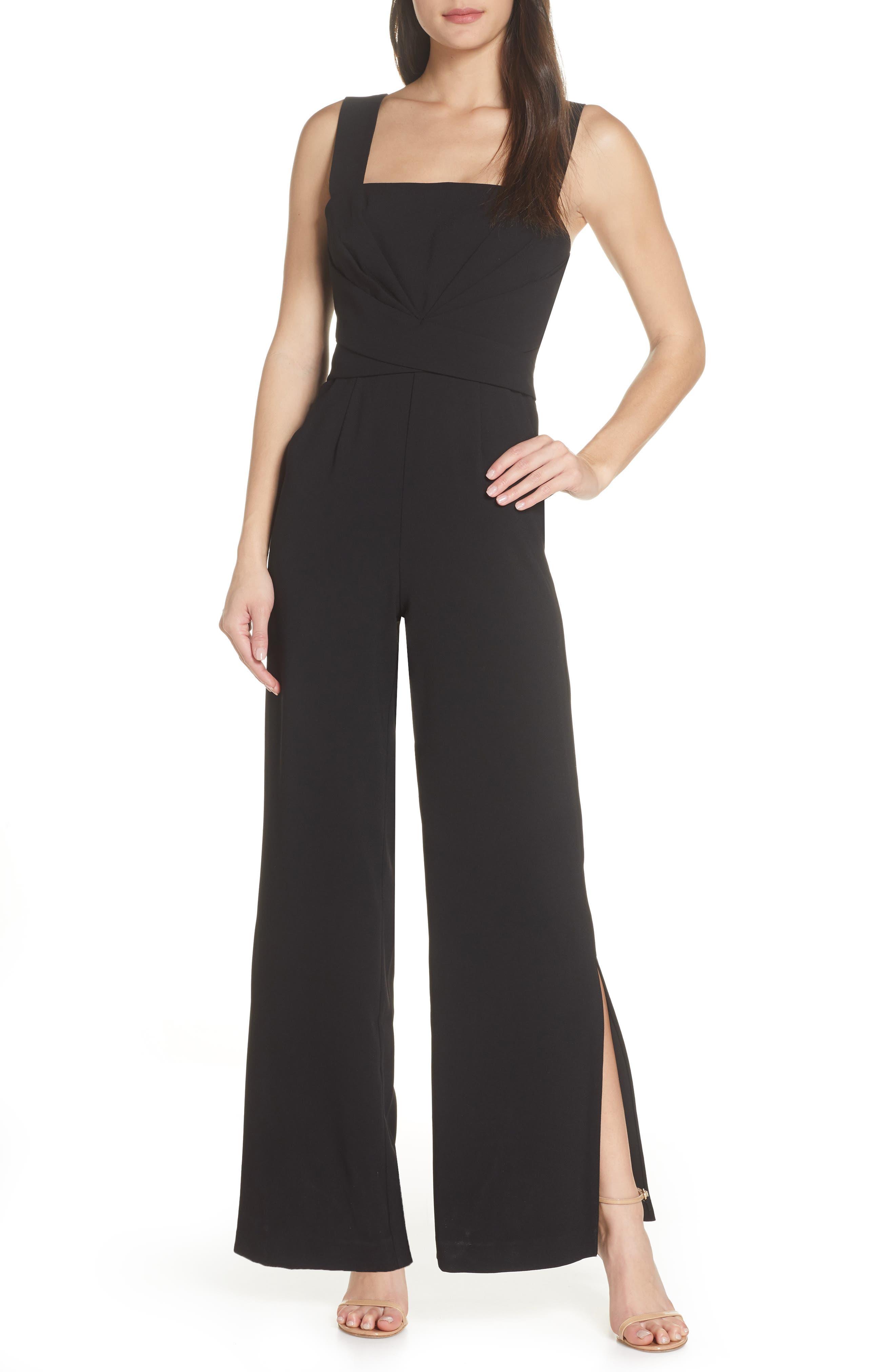 70s Jumpsuit | Disco Jumpsuits – Sequin, Striped, Gold, White, Black Womens Foxiedox Slit Leg Cocktail Jumpsuit $148.00 AT vintagedancer.com