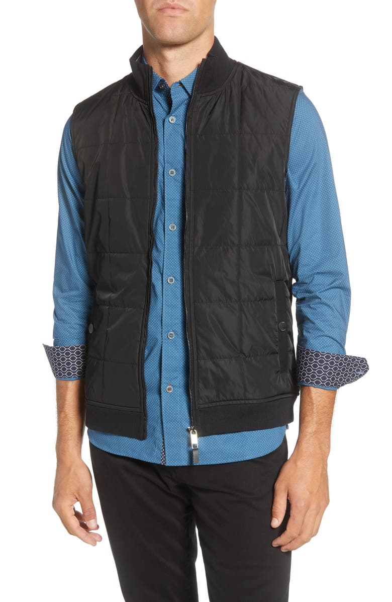 TED BAKER LONDON Stand Collar Mixed Media Vest, Main, color, BLACK